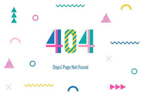 Pagina met een 404-fout in de populaire Memphis-stijl.