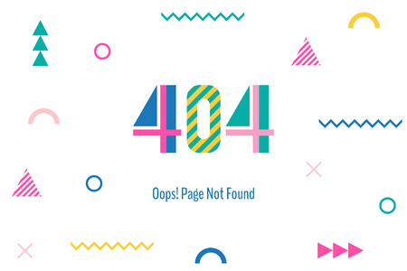 Page with a 404 error in the popular memphis style. Illustration