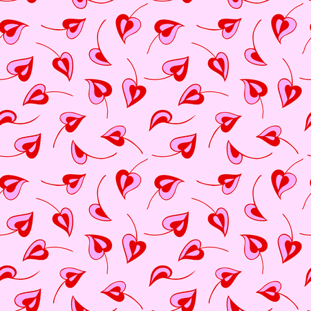 Romantic seamless pattern.  Red and pink leaves in the form of hearts on light pink background. Ideal for textile print and wallpapers.