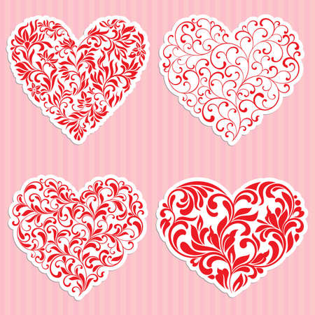 A set of four hearts made of curls and floral elements. Suitable for a romantic design Illustration