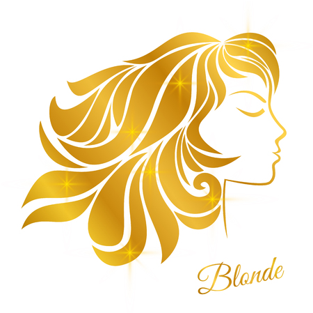 Profile of a blonde girl with golden hair and shine isolated on a white background. Stock Illustratie