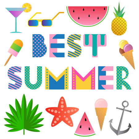 Best Summer. Trendy geometric font in Memphis style of 80s-90s. Text and elements isolated on a white background.