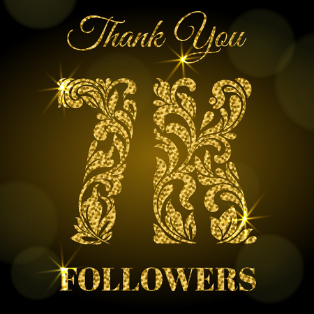7K Followers. Thank you banner. Decorative Font with swirls and floral elements. Golden letters with sparks on a dark background.