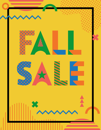 FALL SALE. Trendy geometric font in memphis style of 80s-90s. Abstract geometric shapes and text on yellow background
