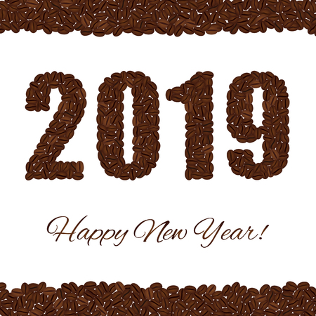 Happy New Year. 2019 created from coffee beans isolated on a white background. Upper and lower bounds of coffee beans Векторная Иллюстрация