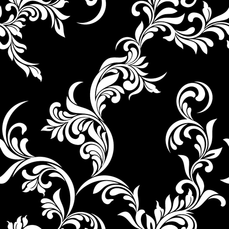 Vintage seamless pattern. White luxurious tracery of stems and leaves on a black background. Ideal for textile print, wallpapers and packaging design