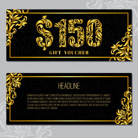 Gift voucher template 150 USD. The inscription created from a floral ornament. Golden Letters on a black background with floral pattern. VIP design.