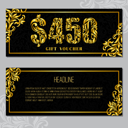 Gift voucher template 450 USD. The inscription created from a floral ornament. Golden Letters on a black background with floral pattern. VIP design.