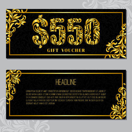 Gift voucher template 550 USD. The inscription created from a floral ornament. Golden Letters on a black background with floral pattern. VIP design. Иллюстрация