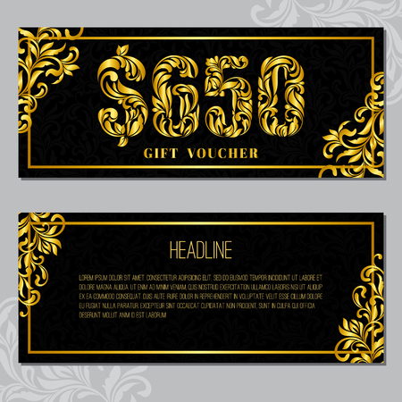 Gift voucher template 650 USD. The inscription created from a floral ornament. Golden Letters on a black background with floral pattern. VIP design.