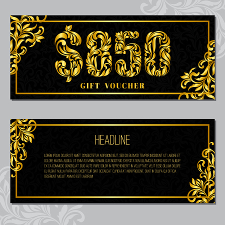 Gift voucher template 850 USD. The inscription created from a floral ornament. Golden Letters on a black background with floral pattern. VIP design.