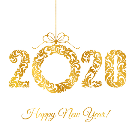 Happy New Year 2020. Decorative Font made of swirls and floral elements. Golden Numbers and Christmas wreath isolated on a white background.