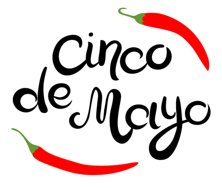 Cinco de Mayo glittering lettering design. Hand drawn Inscription and two chili peppers isolated on the white background