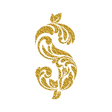 Dollar with golden glitter isolated on the white background. Decorative Font made of swirls and floral elements.
