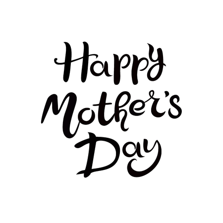 Lettering Happy Mothers Day. Hand drawn Inscription isolated on the white background Иллюстрация