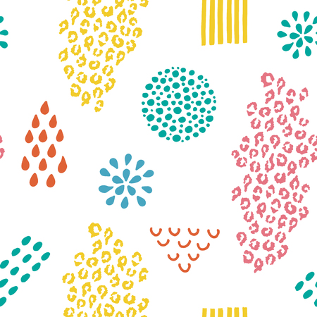 Seamless pattern. Different hand drawn elements and leopard print isolated on the white background.