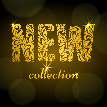 New collection. Golden Decorative Font made of swirls and floral elements. Dark background with bokeh. Suitable for banner or poster