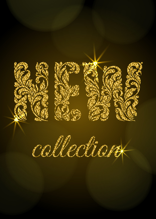 New collection. Decorative Font made of swirls and floral elements with golden glitter. Dark background with bokeh. Suitable for banner or poster