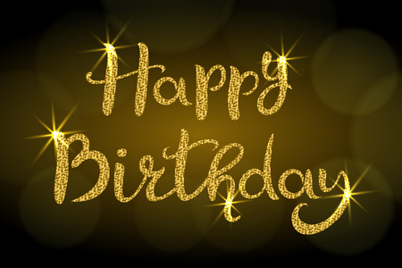 Happy Birthday. Lettering. Hand drawn Inscription with golden glitter. Dark background with bokeh. Suitable for banner or poster Standard-Bild - 122787019