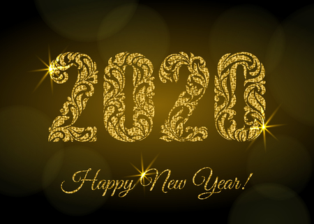 Happy New Year 2020. The figures from a floral ornament with golden glitter and sparks on a dark background with bokeh. Luxury design