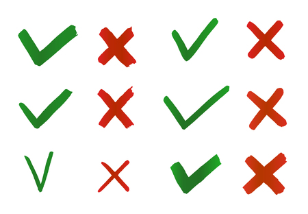 Hand drawn Tick and Cross. Check marks indication for concept yes and no. Vector graphic elements isolated on white background Иллюстрация