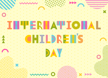 International Childrens Day. Trendy geometric font in memphis style of 80s-90s. Background  with abstract geometric elements. Suitable for banner or poster Иллюстрация