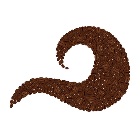 Wave made from coffee beans isolated on white background
