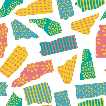 Vector seamless pattern of torn colored paper with different hand drawn textures and ornaments isolated on white background. Иллюстрация