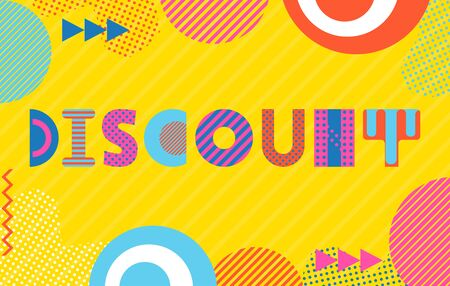 Template for discount card. Trendy geometric font in memphis style of 80s-90s. Background  with abstract geometric elements.