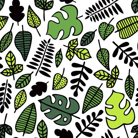 Seamless pattern. Green leaves of various plants isolated on white background. Texture for print, wallpaper, home decor, textile, package design Иллюстрация