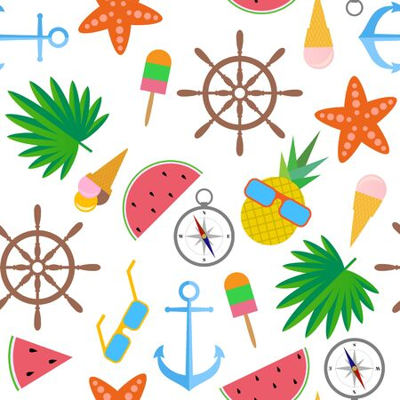 Seamless pattern. All objects isolated on white background. Watermelon, pineapple, starfish, glasses, ice cream, palm leaves, anchor, compass, steering wheel Иллюстрация