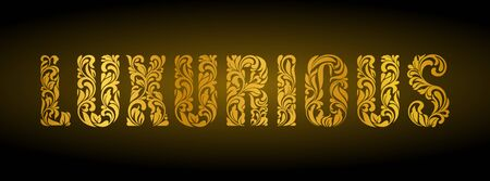Luxurious. Golden letters  from a floral ornament on a dark background. Luxury design