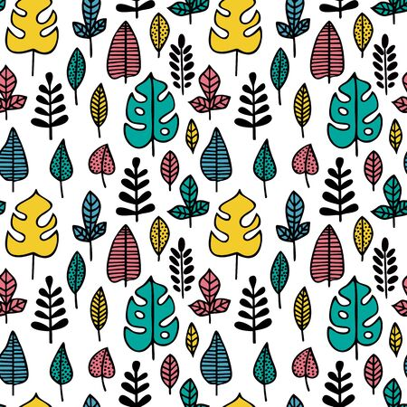 Seamless pattern. Color  leaves of various plants isolated on white background. Texture for print, wallpaper, home decor, textile, package design