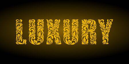 Luxury. Golden letters  from a floral ornament on a dark background. Luxury design