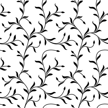 Seamless pattern. Thin delicate twigs with leaves isolated on white background. Texture for print, wallpaper, home decor, textile, package design