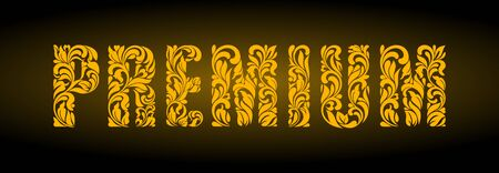 Premium. Golden letters  from a floral ornament on a dark background. Luxury design