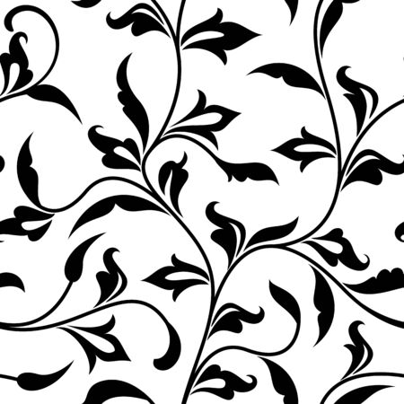 Seamless pattern. Thin delicate twigs with decorative leaves isolated on white background. Texture for print, wallpaper, home decor, textile, package design