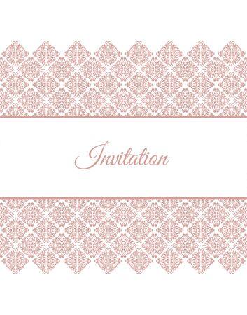 Elegant invitation card. layout with pink vintage ornament.