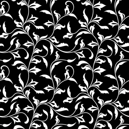 Seamless pattern. Thin delicate twigs with decorative leaves on black  background. Luxurious texture for print, wallpaper, home decor, textile, package design Иллюстрация