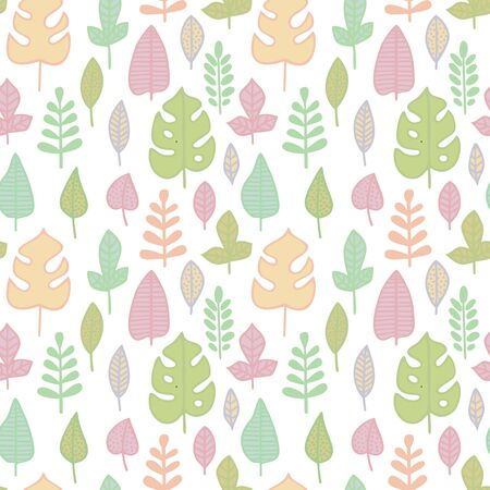 Seamless pattern in pastel colors. Leaves of various plants isolated on white background. Texture for print, wallpaper, home decor, textile, package design Иллюстрация