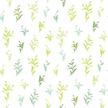 Seamless pattern. Green plants with leaves and buds isolated on white background. Texture for print, wallpaper, home decor, textile, package design