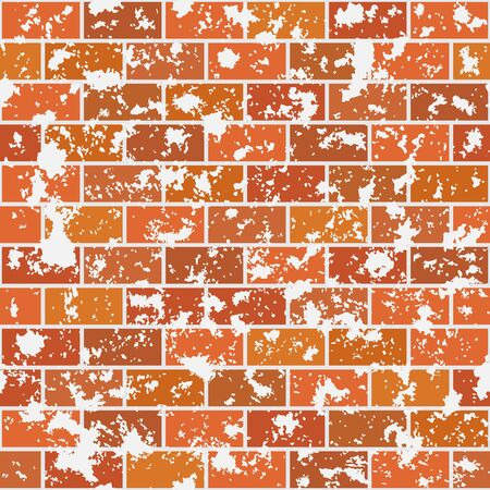 Seamless pattern. Red brick wall with stains of peeling plaster. Texture for print, wallpaper, home decor, textile, or website background. Ilustração