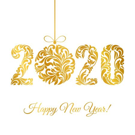 Happy New Year 2020. Decorative Font made of swirls and floral elements. Golden numbers and Christmas ball isolated on a white background.