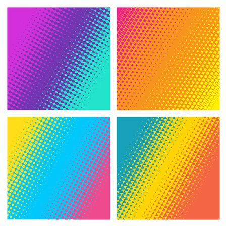 Bright backgrounds collection. Geometric halftone gradients. Minimal design. Suitable for banner, poster, cover, brochures, flyers.