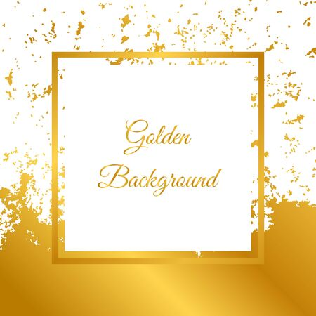 Golden frame and spots of paint isolated on white background. Design for greeting card, banner, invitation, cover, brochures, flyers.