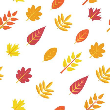 Seamless pattern. Autumn leaves isolated on a white background. Texture for print, wallpaper, home decor, textile, package design, invitation or website background.