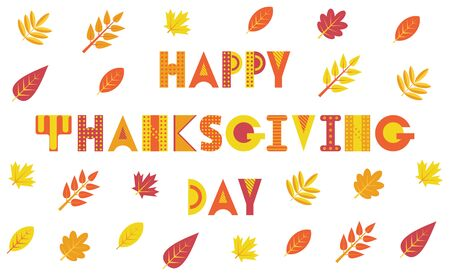 Happy Thanksgiving Day. Trendy geometric font. Text and foliage isolated on a white background. Memphis style of 80s-90s.