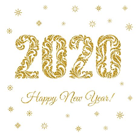 Happy New Year 2020. The figures and snowflakes with golden glitter made in floral ornament isolated on a white background. Иллюстрация