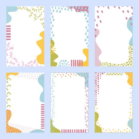 Set of sweet colorful backgrounds with hand drawn elements. Doodle art. Suitable for print, greeting card, banner, poster, label, package design
