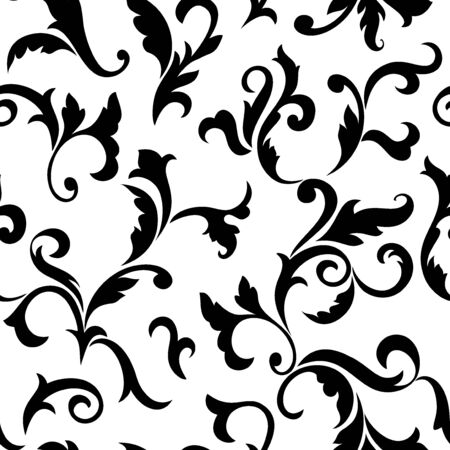 Vintage seamless pattern. Black luxurious Vegetative tracery of stems and leaves isolated on a white background. Ideal for textile print, wallpapers and packaging design  イラスト・ベクター素材